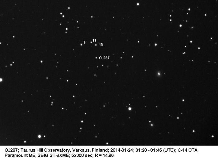 Quasar OJ 287. Photo: Veli-Pekka Hentunen / Taurus Hill Observatory.