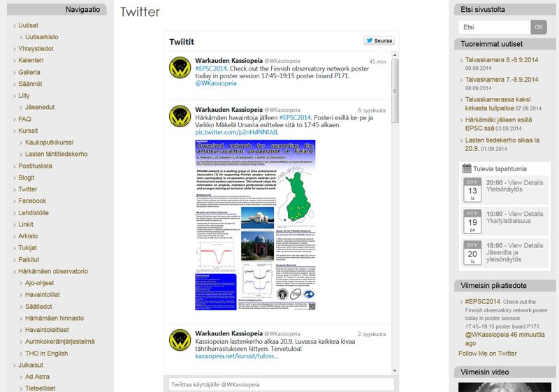 Warkauden Kassiopeian tweetteä on nyt myös mahdollista lukea suoraan kotisivuilla. Kuva: Warkauden Kassiopeia.