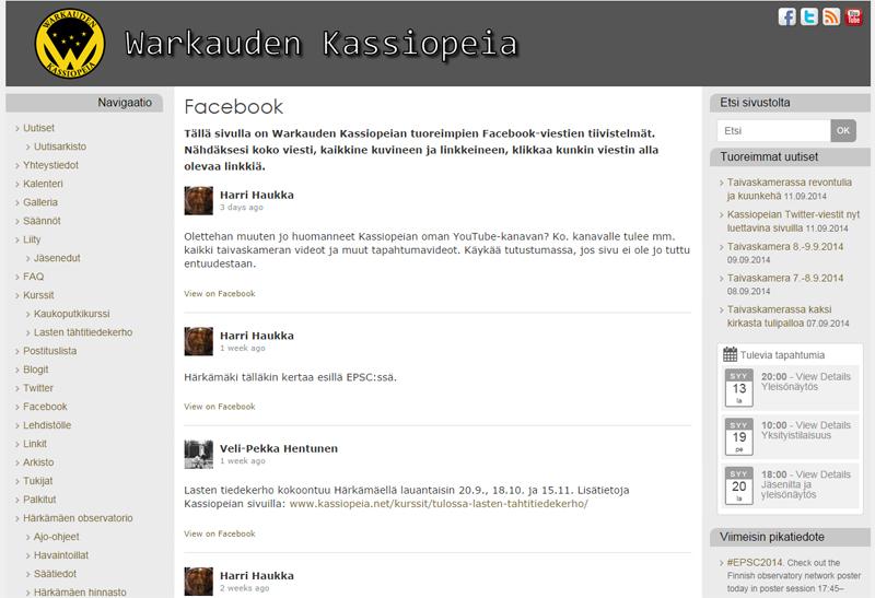 Härkämäen Facebook-ryhmän tuoreimmat viestit nyt suoraan Kassiopeian nettisivuilla. Kuva: Warkauden Kassiopeia.