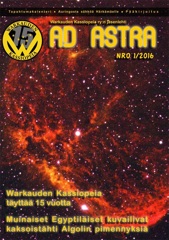 Ad Astra 1/2016 kansikuva. Kuva: Harri Haukka / Warkauden Kassiopeia.